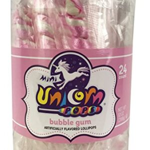 A&B76370 MINI UNICORN COLORS PALE PINK DUBBLE GUM 6-24CT-10OZ